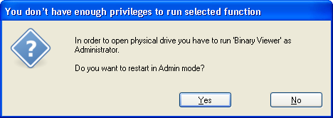 Not enough privileges dialog box