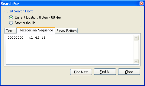 Search for binary sequence within open file