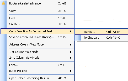 Copy selection to the file or clipboard