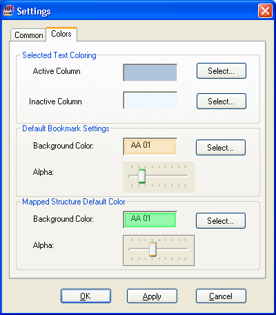 User settings - colors