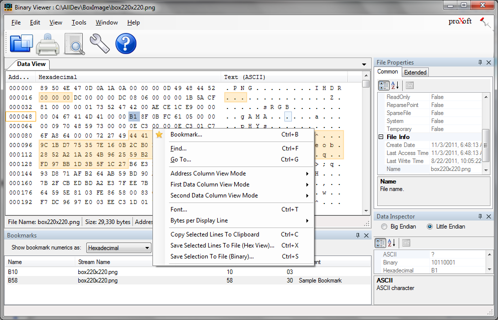 Browse and analyze binary files. View them as hexadecimal, decimal or text.